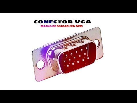 Video de Conector VGA macho de soldadura  Gris
