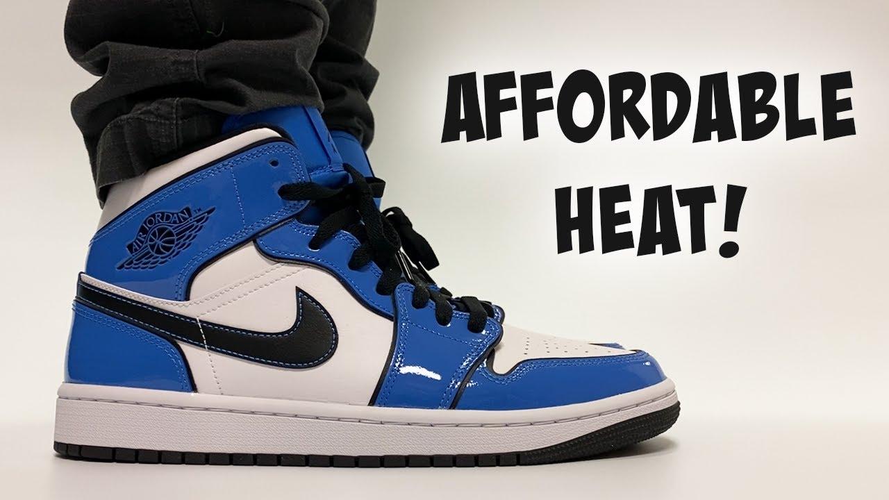 INEXPENSIVE Air Jordan Sneakers! Jordan 1 Mid Signal Blue ON FEET!