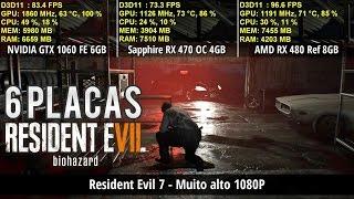 Resident Evil 7 - Teste com RX 460/470/480 e GTX 1050/1050 Ti/1060   FPS e Frametime   Full HD