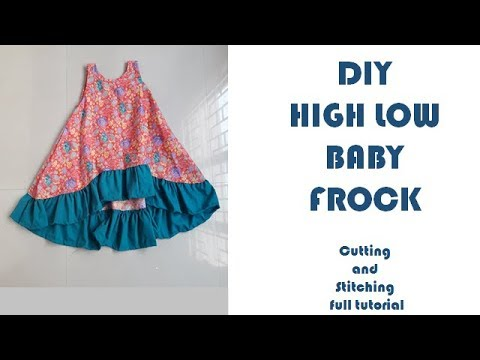 3e91457d08b2 DIY High Low Baby Frock cutting and stitching full tutorial - YouTube