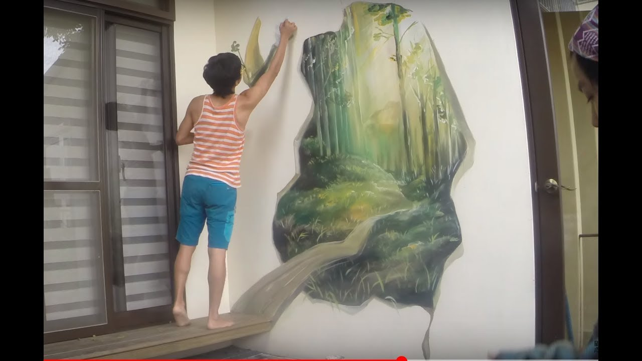 Mural wall painting by picabbo 3d magic woods for 3d mural painting tutorial
