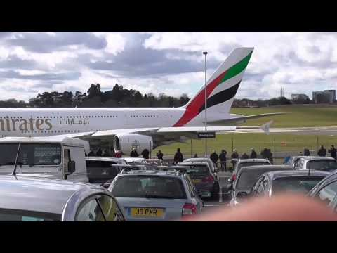 Emirate A380  Push back, Taxi and take off from Birmingham Airport to Dubai on 28/03/2016