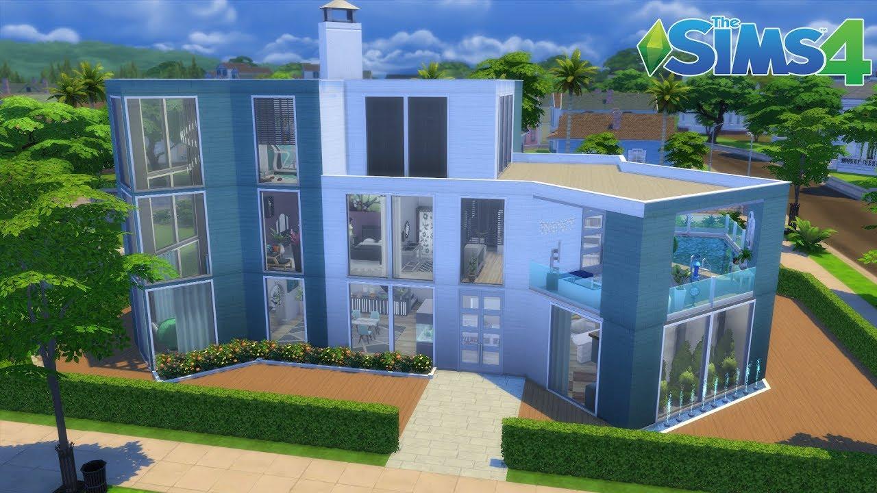 Les sims 4 maison moderne sans cc youtube for Maison prefabriquee sims 4