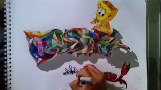 Utilice 150 lapices prismacolor en este boceto graffiti en 3D/Use 150 prismacolor pencils