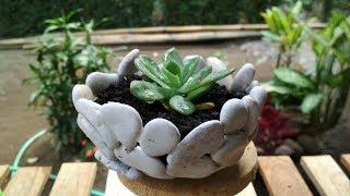 How To Make Stone Planter   DIY Succulent Planter