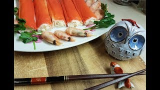 Фаршированные рулетики из крабовых палочек, креветок и ананаса