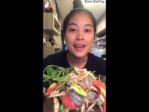 🦐🦐 ส้มตำปลาร้า กุ้งสดตัวใหญ่มากคะ 🦐🦐Raw Shrimps and Papaya Salad