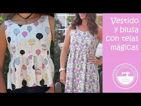 Vestido y blusa fácil con telas mágicas (patrones gratis)