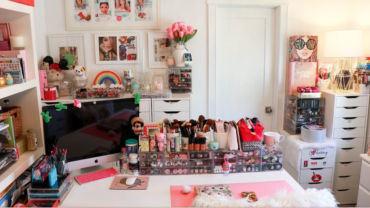 Girly GLAM Room Reveal + Spring Cleaning + Organizing Tips - YouTube