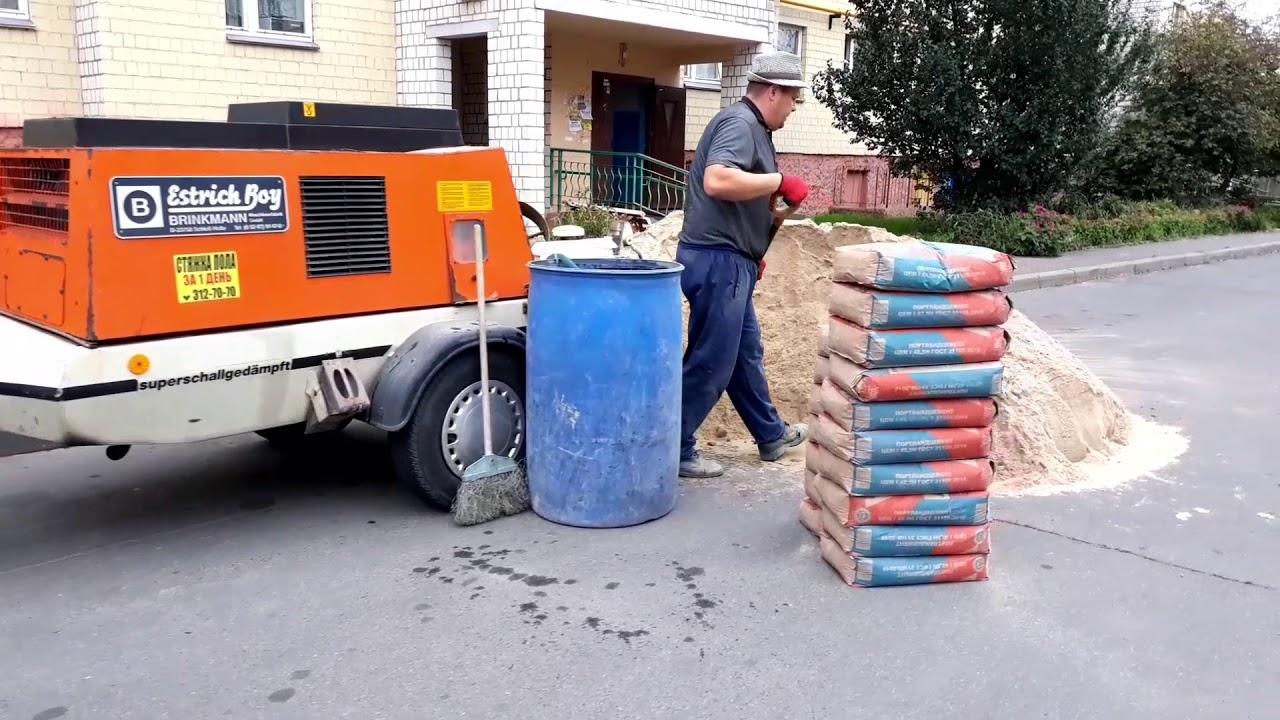 Стяжка цементным раствором тощий бетон м100