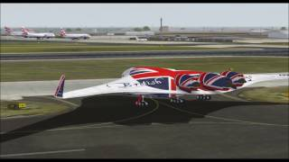 BOEING 797 FLYING WING SUPER LINER BRITISH AIRWAYS TAKE OFF FROM HEATROW INTL AIRPORT FS9 HD
