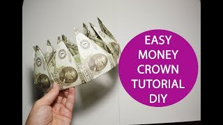 Money Crown out of 9 banknotes Origami Dollar Folded Tutorial DIY