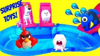 The Secret Life of Pets Dive for Blind Bag Toy Surprises at Pool! Dory & Angry Birds!(Gidget, Snowball & Max from the Secret Life of Pets, Dory, Nemo and Red from Angry birds are all diving for blind bags and toy surprises! They have a super fun ..., 2016-07-28T22:00:02.000Z)