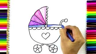How to Draw and Color Baby Carriage | Drawing and Coloring Baby Stroller for Kids | Art4Kids