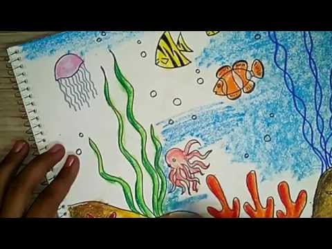 How to draw an underwater scene 2 - Oil pastel coloring ...