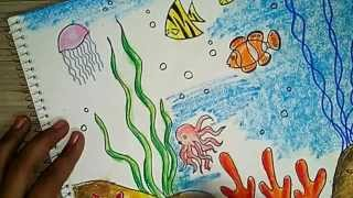How to draw an underwater scene 2 - Oil pastel coloring