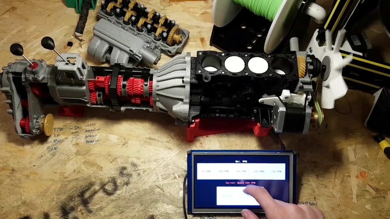 Toyota engine 22re full 3d printed, upgrade whit Arduino and nextion touch  screen lcd display