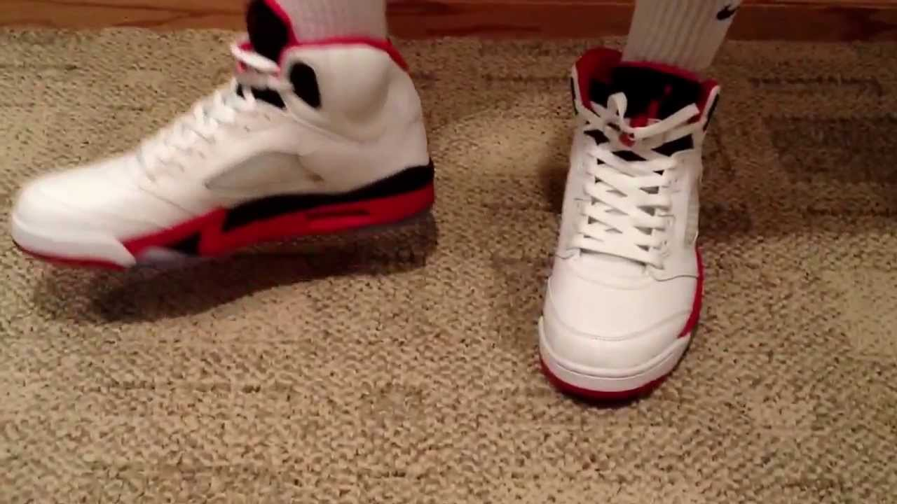 faa32cc2944 Air Jordan Retro 5 2013 Fire Red Black Tongue - With On Feet Review -  YouTube
