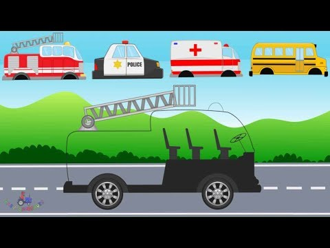 Fire Truck, Ambulance, Police Car - Learning Street Vehicles   Video For Kids - Emergency Cars