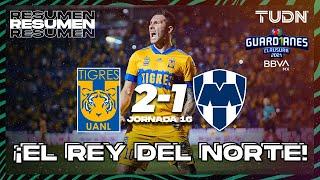 Resumen y goles   Tigres 2-1 Rayados   Torneo Guard1anes 2021 BBVA MX J16   TUDN