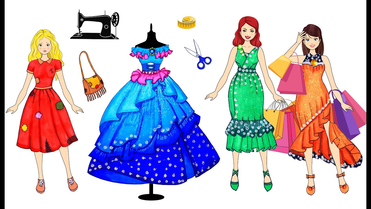 [DIY] Paper Dolls Super Poor to Win on Dresses' Contest ! Beautiful Dresses Handmade Papercrafts