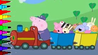 Peppa Pig Coloring Book Pages Grandpa's Train Kids Fun Art Learning Disney Brilliant Color