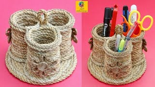 DIY Pen Holder With Jute | Stationery Desk Organizer With Jute Rope | Jute Craft Idea