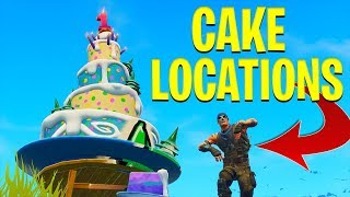 FORTNITE BIRTHDAY CAKE LOCATIONS - DANCE IN FRONT OF DIFFERENT BIRTHDAY CAKES