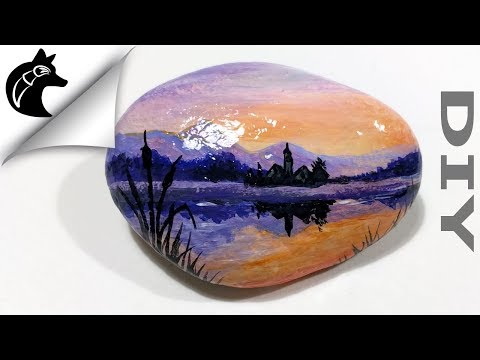 How To Paint A Sunset On A Rock Rock painting Steine bemalen