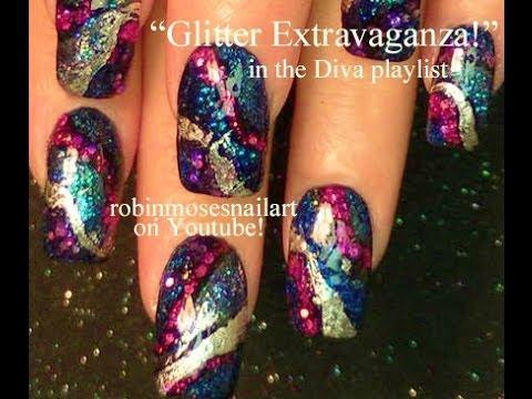 glitter bling nail art design