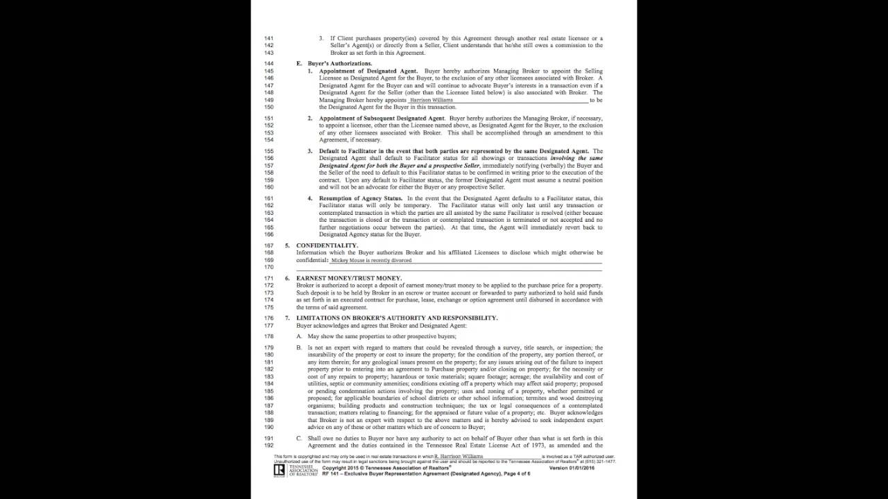 Exclusive Buyer Rep Agreement Youtube