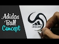 How to Draw a Cartoon - Logo Adidas Ball Concept (Tutorial Step by Step)