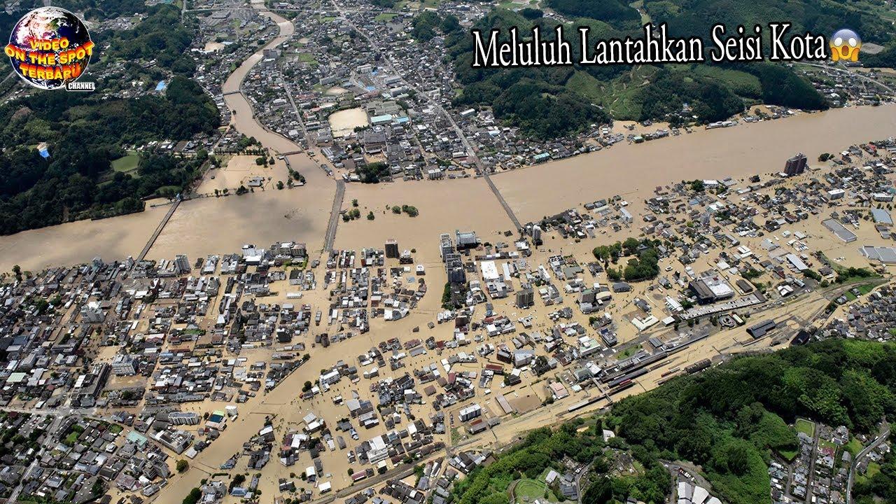 Luapan Air Dahsyat Tiba² Menerjang Kota, Jembatan Hingga Rumah Lenyap Seketika.!!