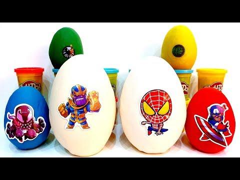 Giganti Plastilina Play Doh Surprise Eggs Marvel Superheroes vs Villains Toys