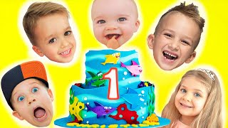 Download lagu Happy Birthday Christian! First Birthday kids party with Vlad & Niki, Diana and Roma