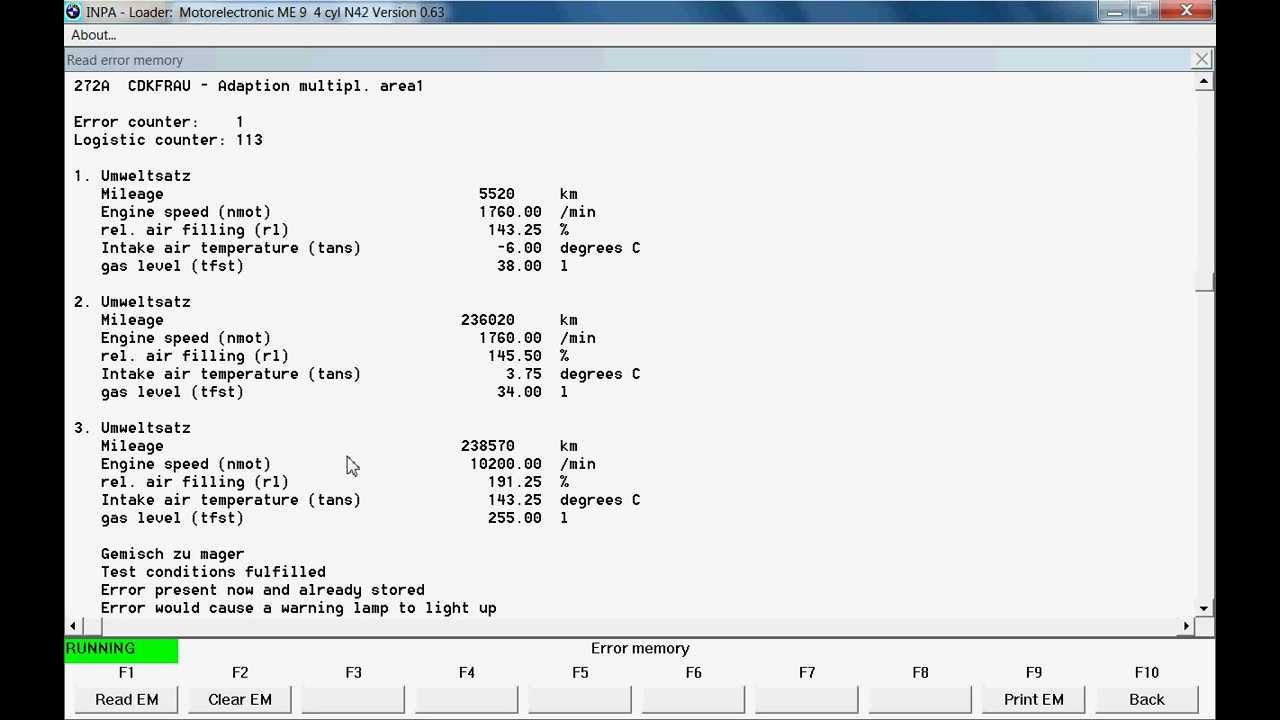 Check Engine Bmw >> INPA reading E46 316i (N42) - YouTube
