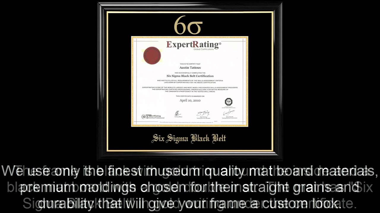 Six sigma black belt certificate frame black with black mat youtube xflitez Choice Image