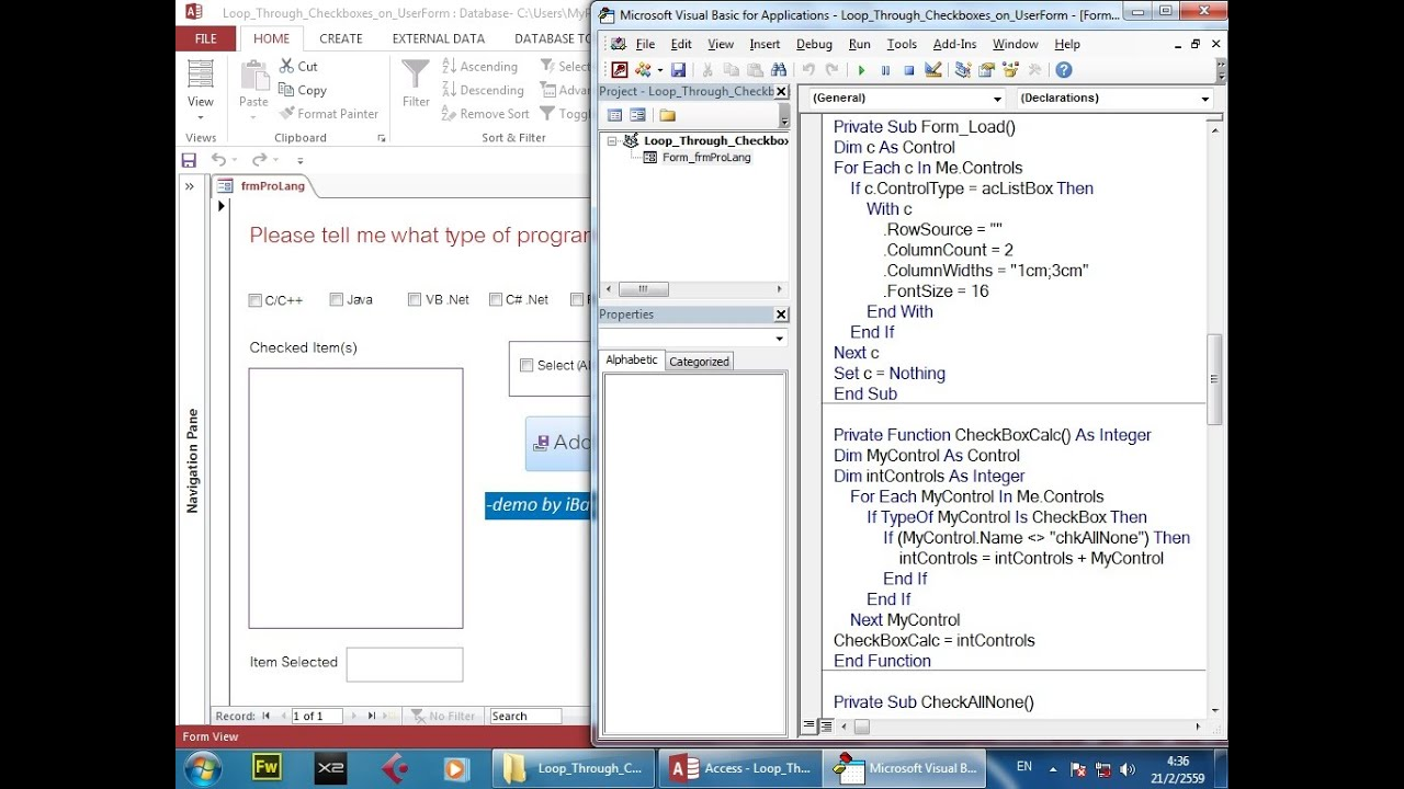 Access VBA Loop Through Controls on a UserForm (ListBox CheckBox) Part 2/2