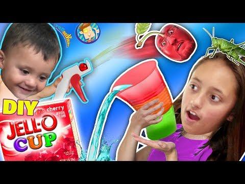 DIY JELLO CUPS! Edible Glasses Kids Recipe! + Cherry Pit Fruit Launcher! FUNnel Family Random Vlogs