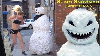 Prank Scary Snowman Hidden Camera Practical Joke - Mixzoro