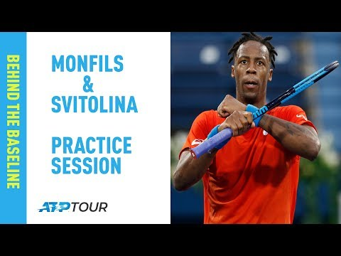 Gael Monfils Practice Session with Elina Svitolina in Dubai