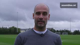 Pep Guardiola muestra en un vídeo su apoyo a la celebración del referéndum