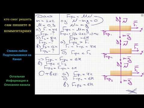 Физика Брусок  массой M = 2 кг лежит на столе, при этом коэффициент трения µ = 0,3. Какая сила