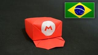 Origami: Boné do Mario - Instruções em português PT BR
