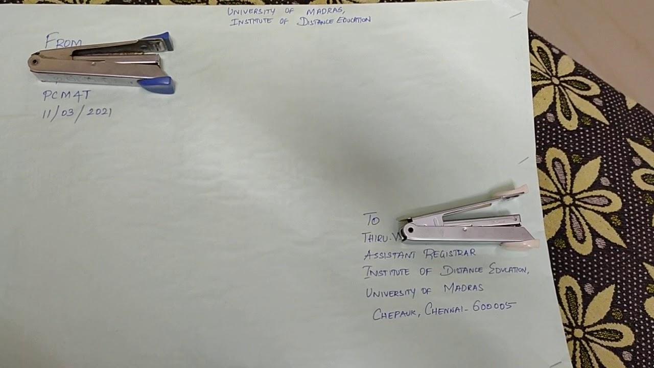 Courier Format #MadrasUniversity #InstituteofDistanceEducation