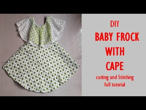 867c46543 DIY BABY FROCK WITH CAPE cutting and Stitching full tutorial - YouTube