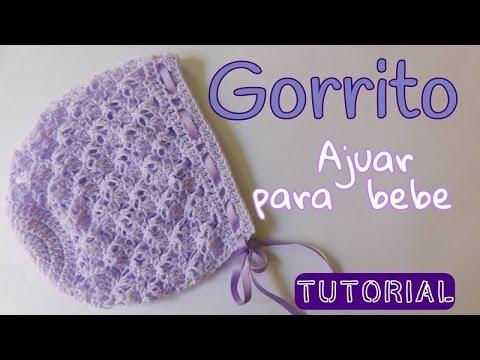 Ajuar  Gorrito para bebe en punto espuma de mar - YouTube 8d0a9173c62