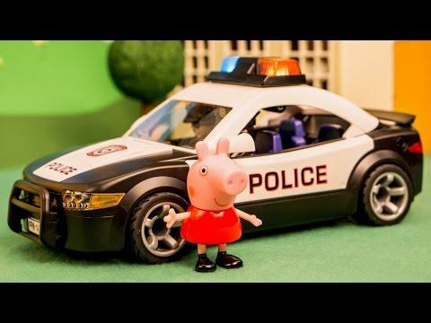 Peppa Pig School rides in Police Car
