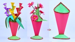 Paper Cone Shaped Flower Pot Easy | How to Make Beautiful Flower Vase at Home | DIY Craft Ideas