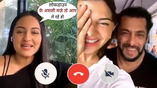 Sonakshi Sinha Live amusing Chat with Jacqueline and Salman Khan in video call